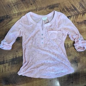 Blush pink dress shirt with rhinestone features